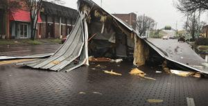 ASSOCIATED PRESS                                 In this image taken from video, severe storms sweeping across parts of the U.S. South were blamed for deaths and destruction on Saturday, including the damages to a number of downtown Greenville, Miss., businesses. High winds, tornadoes and unrelenting rain battered a large area of the South.