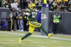 ASSOCIATED PRESS                                 Green Bay's Davante Adams runs to the endzone for his touchdown catch during the second half.