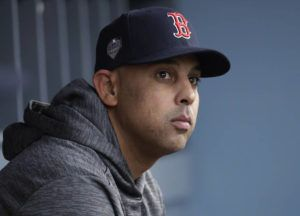 ASSOCIATED PRESS Boston Red Sox manager Alex Cora waits for the start of Game 5 of the baseball World Series between the Red Sox and Los Angeles Dodgers in Los Angeles in October. Cora was fired by the Red Sox a day after baseball Commissioner Rob Manfred implicated him in the sport's sign-stealing scandal.