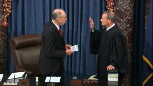 ASSOCIATED PRESS                                 In this image from video, President Pro Tempore of the Senate Sen. Chuck Grassley, R-Iowa., swears in Supreme Court Chief Justice John Roberts as the presiding officer for the impeachment trial of President Donald Trump in the Senate at the U.S. Capitol in Washington on Thursday.