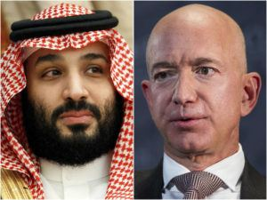 ASSOCIATED PRESS                                 Saudi Arabia's Crown Prince Mohammed bin Salman in Jeddah, Saudi Arabia, left, and Jeff Bezos, Amazon founder and CEO, seen in a combination of photos. Cybersecurity experts said, today, there are many questions still unanswered from an investigation commissioned by Bezos that said the billionaire's phone was hacked, apparently after receiving a video file with malicious spyware from the WhatsApp account of the crown prince.