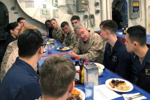 ASSOCIATED PRESS                                 Marine Gen. Frank McKenzie, the top U.S. commander for the Middle East, met with sailors and Marines on the USS Bataan amphibious assault ship, today, in the northern Red Sea. McKenzie told some newly arrived troops in the region that they could be there for a while.