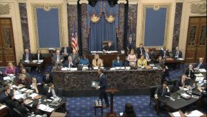 SENATE TELEVISION VIA AP                                 In this image from video, House impeachment manager Rep. Adam Schiff, D-Calif., walks from the podium as the Democrats finishing presenting their case during the impeachment trial against President Donald Trump in the Senate at the U.S. Capitol in Washington.