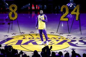 ASSOCIATED PRESS                                 The Los Angeles Lakers' LeBron James, wearing a No. 24 jersey, speaks about Kobe Bryant prior to an NBA game between the Lakers and the Portland Trail Blazers.