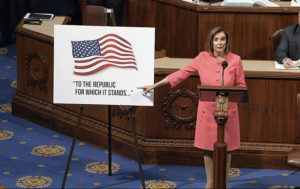 HOUSE TELEVISION VIA ASSOCIATED PRESS                                 House Speaker Nancy Pelosi of Calif., spoke, today, as the House of Representatives debated the impeachment managers resolution at the Capitol in Washington.