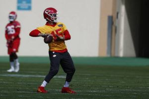 ASSOCIATED PRESS                                 Kansas City Chiefs quarterback Patrick Mahomes sets back to throw the ball during practice today.