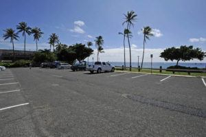 BRUCE ASATO / BASATO@STARADVERTISER.COM                                 The parking lot for the Point Panic area of Kakaako Waterfront Park is seen in 2017. Parts of the public parking lot at Kakaako Waterfront Park and Point Panic are slated for closure for repaving.