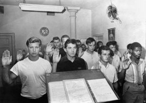 NEW YORK TIMES                                 Army inductees pledge their service in New York on July 29, 1965. Interest in the draft surged today, and crashed the website of the Selective Service System, where men from 18 to 25 years old are required to register.