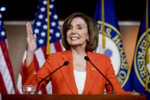 "ASSOCIATED PRESS                                 House Speaker Nancy Pelosi of Calif., spoke on June 5 at the Capitol in Washington. Pelosi today once again rebuffed growing calls to send the House's articles of impeachment against President Donald Trump to the Senate for trial and refused to provide a timetable for doing so, saying only that after weeks of delay, she would probably move ""soon."""
