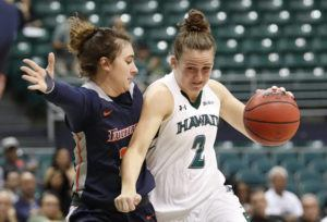 CINDY ELLEN RUSSELL / CRUSSELL@STARADVERTISER.COM                                 Hawaii's Courtney Middap drives past Fullerton's Taylor Turney during the first half.
