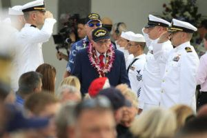 CINDY ELLEN RUSSELL / 2017                                 USS Arizona survivor Don Stratton arrives at Pearl Harbor with his son Randy behind him in 2017.
