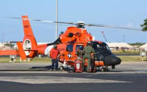COURTESY OF U.S. COAST GUARD /Jan. 2017                                 A Coast Guard MH-65 Dolphin helicopter crew refuels at Coast Guard Air Station Barbers Point.