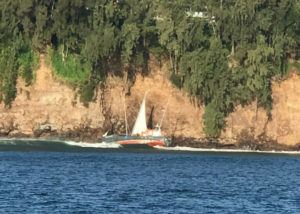 COURTESY COAST GUARD The 63-foot Midway Island is seen where it grounded on the rocks at Hilo Bay.