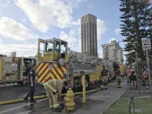 DENNIS ODA / FEB. 15                                 Honolulu firefighters responded to a fire at Ala Wai Manor in McCully.