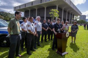 CRAIG T. KOJIMA / CKOJIMA@STARADVERTISER.COM                                 Honolulu Police Chief Susan Ballard today made a public pitch for proposals to ban rifle magazines that hold more than 10 bullets, and for new restrictions on the sale of ammunition in advance of key floor votes scheduled for Thursday on a package of firearms bills.