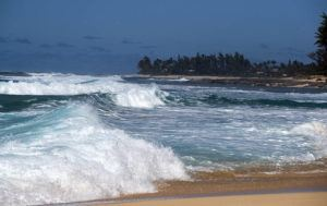STAR-ADVERTISER                                 The view of Sunset Beach as seen from Ehukai Beach on March 15. A high surf advisory for the north and west shores of most Hawaiian Islands remains in effect through this evening, while wet and windy weather is expected to begin Thursday.