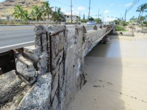 COURTESY CARROLL COX This image shows Maipalaoa bridge on Farrington Highway at Maili Stream in 2017.