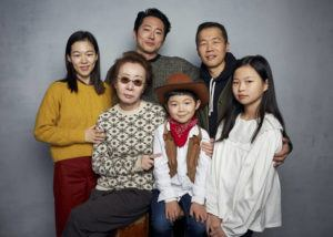 "ASSOCIATED PRESS                                 Han Yeri, from top left, Steven Yeun, director Lee Isaac Chung, Yuh Jung Youn, from bottom left, Alan Kim, and Noel Cho pose for a portrait to promote the film ""Minari"" at the Music Lodge during the Sundance Film Festival on Monday in Park City, Utah."