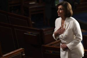 ASSOCIATED PRESS                                 House Speaker Nancy Pelosi of Calif., bowed to the guests seated in her gallery seats after President Donald Trump delivered his State of the Union address to a joint session of Congress on Capitol Hill in Washington, Tuesday.