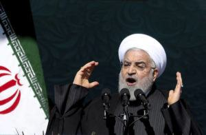 ASSOCIATED PRESS                                 Iranian President Hassan Rouhani speaks during a ceremony celebrating the 41st anniversary of the Islamic Revolution, at the Azadi, Freedom, Square in Tehran, Iran, on Feb. 11.