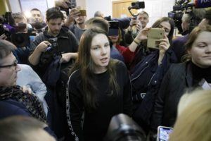 ASSOCIATED PRESS Alla Ilyina, who broke out of the hospital on Feb. 7 after learning that she would have to spend 14 days in isolation instead of the 24 hours doctors promised her, speaks to the media in a courtroom in St.Petersburg, Russia, today.