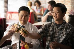 "COURTESY ABC                                 Randall Park, left, and Hudson Yang star in a television episode of ""Fresh Off the Boat."""