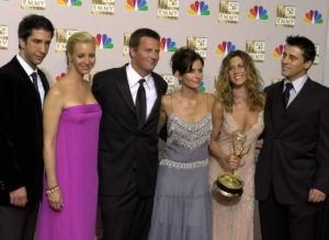 "ASSOCIATED PRESS                                 The stars of ""Friends,"" from left, David Schwimmer, Lisa Kudrow, Matthew Perry, Courteney Cox Arquette, Jennifer Aniston and Matt LeBlanc pose with the award for outstanding comedy series at the 54th annual Primetime Emmy Awards in Los Angeles in 2002. WarnerMedia has announced the entire original cast of ""Friends"" will reunite for an unscripted special that will be available on HBO Max when the service debuts in May."