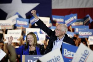 ASSOCIATED PRESS                                 Democratic presidential candidate Sen. Bernie Sanders, I-Vt., right, with his wife Jane, speaks during a campaign event in San Antonio on Saturday.