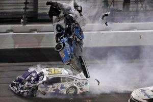 ASSOCIATED PRESS                                 Ryan Newman (6) goes airborne after crashing into Corey LaJoie (32) during the NASCAR Daytona 500 auto race on Monday.