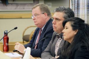 ASSOCIATED PRESS                                 Three officials of the Oregon Health Authority testified Friday before a committee of the Oregon Legislature in Salem, on preparations for a possible outbreak of coronavirus in Oregon. Appearing before the House Committee on Health Care were, from left, OHA Director Patrick Allen, Dean Sidelinger, state health officer and state epidemiologist, and Akiko Saito, section manager of health security, preparedness and response.