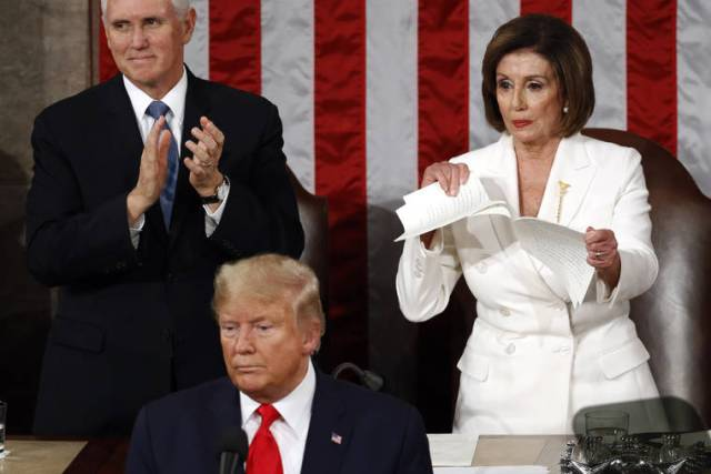 Trump uses State of Union to campaign; Pelosi rips up speech