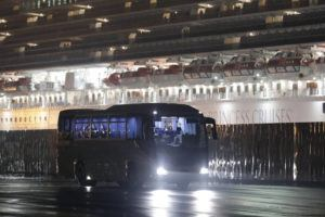 ASSOCIATED PRESS                                 Buses carrying American passengers from the quarantined Diamond Princess cruise ship leave a port in Yokohama, Japan, on Monday.
