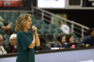 CINDY ELLEN RUSSELL / CRUSSELL@STARADVERTISER.COM Hawaii head coach Laura Beeman smiles during a game on Jan. 30.