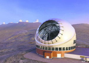 COURTESY PHOTO                                 An artist's rendering of the Thirty Meter Telescope against a backdrop of other Mauna Kea telescopes.