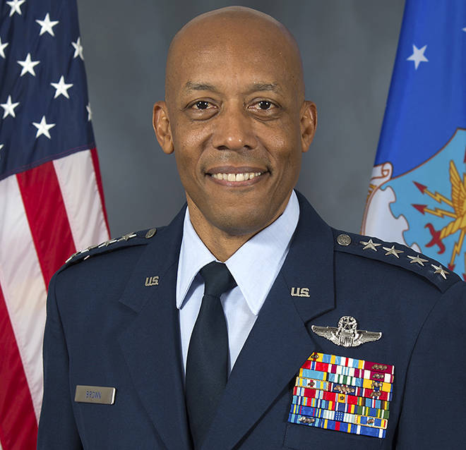 COURTESY U.S. AIR FORCE                                 Gen. Charles Q. Brown Jr., the commander of Pacific Air Forces, was nominated today to be the Air Force's 22nd chief of staff.