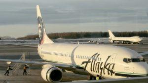 ASSOCIATED PRESS / 2007                                 An Alaska Airlines jet in Anchorage, Alaska.