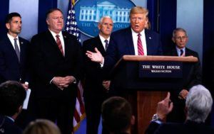 ASSOCIATED PRESS                                 President Donald Trump responded to a question by NBC News White House correspondent Peter Alexander during a coronavirus task force briefing at the White House, today, in Washington.