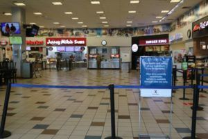 DEPARTMENT OF DEFENSE                                 A food court on Schofield Barracks is roped off because of the coronavirus.