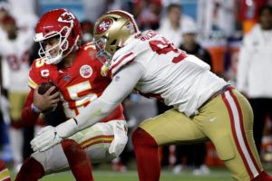 ASSOCIATED PRESS                                 Kansas City Chiefs quarterback Patrick Mahomes was sacked by San Francisco 49ers' DeForest Buckner during the second half of a game, Feb. 2, in Miami Gardens, Fla.