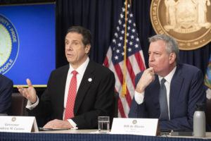 ASSOCIATED PRESS                                 New York Gov. Andrew Cuomo, left, and Mayor Bill de Blasio discuss the state and city's preparedness for the spread of the coronavirus, in New York on March 2.