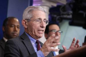 ASSOCIATED PRESS Dr. Anthony Fauci, director of the National Institute of Allergy and Infectious Diseases, spoke during a briefing on coronavirus in the Brady press briefing room at the White House, Saturday, in Washington.