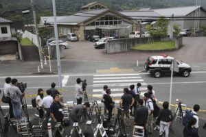 ASSOCIATED PRESS                                 Journalists gathered, in July 2016, in front of Tsukui Yamayuri-en, a facility for the handicapped, where a former care home employee killed disabled people, in Sagamihara, outside Tokyo. The Yokohama District Court sentenced Satoshi Uematsu, 30, to death Monday, for killing 19 disabled people and injuring 24 others four years ago in the deadliest mass attack in postwar Japan.