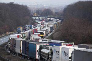 ASSOCIATED PRESS Trucks were jammed on the motorway A4 near Bautzen, Germany, on Tuesday.