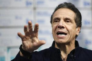 ASSOCIATED PRESS                                 New York Gov. Andrew Cuomo spoke today during a news conference against a backdrop of medical supplies at the Jacob Javits Center that will house a temporary hospital in response to the COVID-19 outbreak.