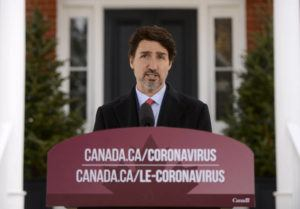 THE CANADIAN PRESS VIA ASSOCIATED PRESS                                 Canada's Prime Minister Justin Trudeau addresses Canadians on the coronavirus situation from Rideau Cottage in Ottawa, Ontario, today.