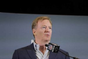 ASSOCIATED PRESS / FEB. 3                                 NFL Commissioner Roger Goodell spoke during a news conference in Miami, the day after the Kansas City Chiefs defeated the San Francisco 49ers in Super Bowl 54.