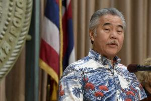 BRUCE ASATO / BASATO@STARADVERTISER.COM                                 Gov. David Ige talks at a State Capitol news conference Tuesday about his plan to help slow the spread of coronavirus. Today, he and Small Business Administration District Director Jane Sawyer announced several initiatives today to try to help small businesses to stay afloat, quickly retrain workers and help workers who lose their jobs.