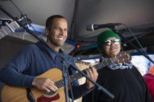 STAR-ADVERTISER / JULY 2019                                 Musician Jack Johnson played at Mauna Kea Access Road. Pictured to the right of Jack Johnson is Paula Fuga. Johnson, a goodwill ambassador for the United Nations Environment Programme, offered the concert on Instagram live in collaboration with Global Citizen to support WHO in its message encouraging everyone to practice social distancing.