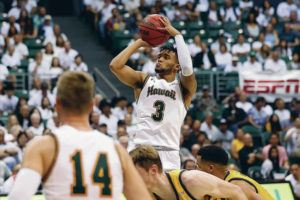 STAR-ADVERTISER                                 Hawaii's Eddie Stansberry shot the ball during the second half game against UC Irvine, Feb. 15, at the Stan Sheriff Center in Honolulu.