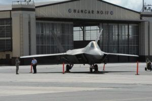 CRAIG T. KOJIMA / 2012 An F-22 sits on display outside Hangar 35.